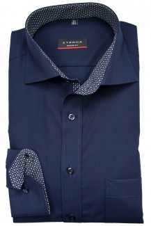 Eterna Hemd 68er-Arm modern fit Kent Chambray Patch marine