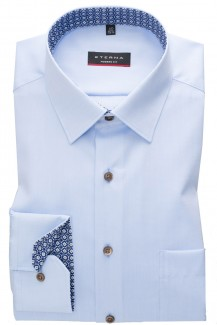 Eterna Hemd 68er-Arm modern fit Kent Retro Patch in bleu
