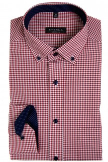 Eterna Hemd 68er-Arm modern fit Modern Button-Down Vichykaro rot-weiß