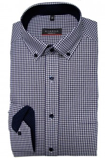 Eterna Hemd 72er-Arm modern fit Button-Down Vichykaro marine-weiß