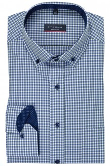 Eterna Hemd 72er-Arm modern fit Button-Down Vichykaro oliv-weiß