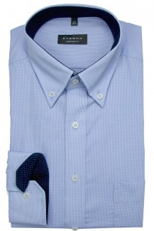 Eterna Hemd comfort fit Button-Down Minikaro bleu-weiß