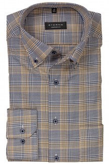 Eterna Hemd comfort fit Button-Down Premium Karo safran-braun