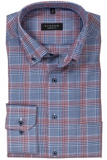 Eterna Hemd comfort fit Button-Down Premium Karo weinrot-bleu