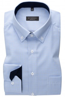 Eterna Hemd comfort fit Button-Down Vichykaro bleu-weiß