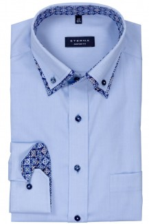 Eterna Hemd comfort fit Doppelkragen Button-Down bleu