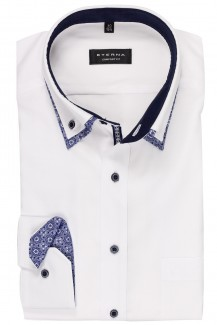 Eterna Hemd comfort fit Doppelkragen Button-Down Mosaik Patch weiß
