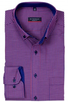 Eterna Hemd modern fit Button-Down Vichykaro beere-marine