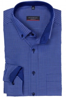 Eterna Hemd modern fit Button-Down Vichykaro marine-royal