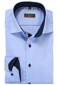 Eterna Hemd modern fit Classic Kent Fein Oxford Tupfen Patch bleu