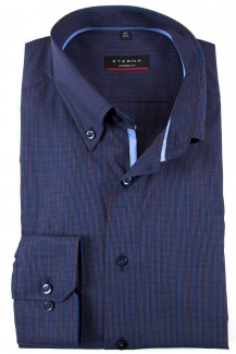 Eterna Hemd modern fit Stretch Button-Down Minikaro rost-blau