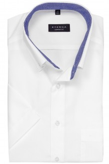 Eterna Kurzarm Hemd comfort fit Button-Down royal Patch weiß