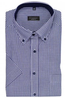 Eterna Kurzarm Hemd comfort fit Button-Down Vichykaro in marine-weiß