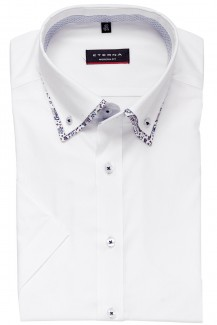 Eterna Kurzarm Hemd modern fit Doppelkragen Button-Down Muschel Patch weiß