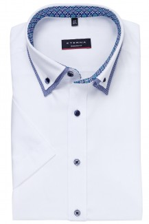 Eterna Kurzarm Hemd modern fit Doppelkragen Button-Down weiß