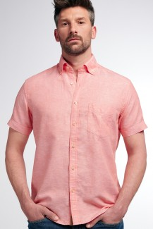 Eterna Kurzarm UPCYCLING Shirt regular fit Button-Down Leinen hibiscus