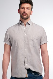 Eterna Kurzarm UPCYCLING Shirt regular fit Button-Down Leinen sand