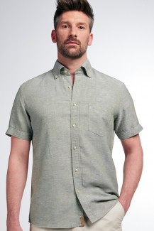 Eterna Kurzarm UPCYCLING Shirt regular fit Button-Down Leinen schlamm