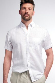 Eterna Kurzarm UPCYCLING Shirt regular fit Button-Down Leinen weiß