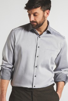 Eterna Premium 1863 Lotus Shirt 68er-Arm modern fit Kent Twill silbergrau