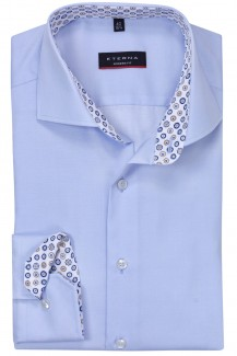 Eterna Lotus Shirt modern fit Haifisch  Kringel Patch bleu