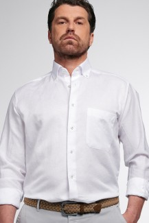 Eterna Premium Hemd 1863 Supersoft comfort fit Button-Down Leinen weiß