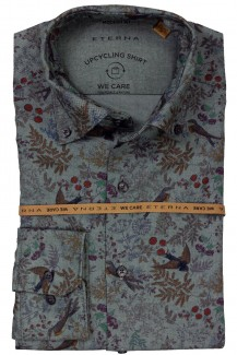 Eterna UPCYCLING Shirt WE care modern fit Button-Down Vogel Welt jeansblau-rot
