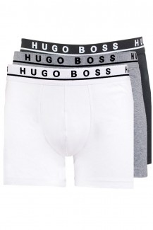BOSS Hugo Boss Boxer Brief Cotton Stretch 3er Pack weiß-grau-schwarz