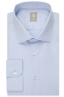 Jacques Britt Hemd Slim Fit Kent Satin bleu