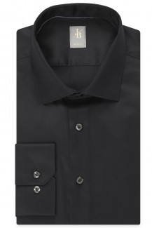 Jacques Britt Hemd Slim Fit Kent Satin schwarz