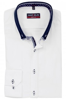 Marvelis body fit Hemd 69er-Arm Doppelkragen Button Down marine Kragen weiß