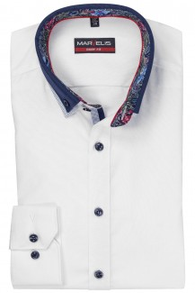 Marvelis body fit Hemd 69er-Arm Doppelkragen Button-Down weiß