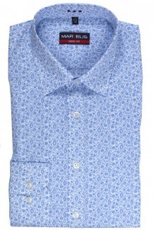 Marvelis body fit Hemd 69er Arm New York Kent Paisley bleu-weiß