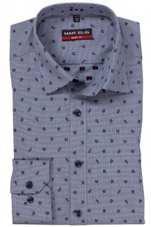 Marvelis body fit Hemd New York Kent Mini Paisley marine-weinrot