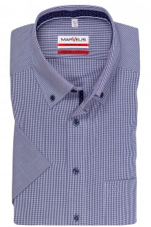 Marvelis modern fit Kurzarm Hemd Button-Down Minikaro marine-weiß