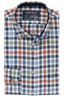 Marvelis Casual modern fit Hemd Button-Down Flanell Karo terra-marine