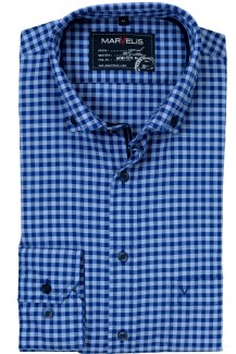 Marvelis Casual modern fit Hemd Button-Down Vichykaro jeansblau-marine