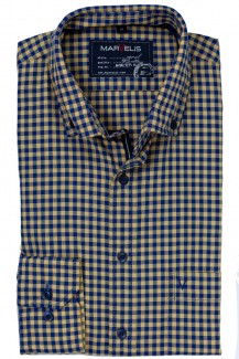Marvelis Casual modern fit Hemd Button-Down Vichykaro kürbis-marine