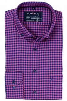 Marvelis Casual modern fit Hemd Button-Down Vichykaro magenta-marine