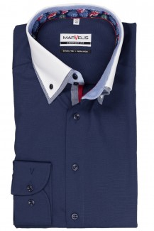 Marvelis comfort fit Hemd Doppelkragen Button-Down marine