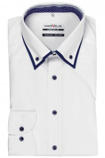 Marvelis comfort fit Hemd Doppelkragen Button-Down weiß