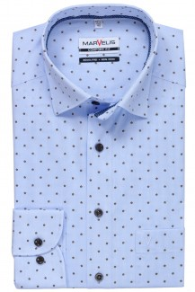 Marvelis comfort fit Hemd Under Button-Down Vichy Karo mit Scherli bleu-braun