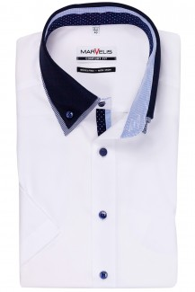 Marvelis comfort fit Kurzarm Hemd Doppelkragen Button-Down in weiß