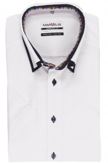 Marvelis comfort fit Kurzarm Hemd Doppelkragen Button-Down Streifen Patch weiß