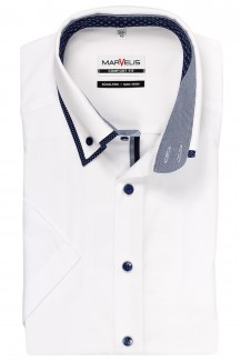 Marvelis comfort fit Kurzarm Hemd Doppelkragen Button-Down weiß