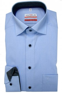 Marvelis Hemd 69er-Arm modern fit New Kent in sich gemustert bleu