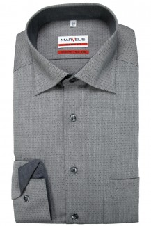 Marvelis Hemd 69er-Arm modern fit New Kent in sich gemustert grau
