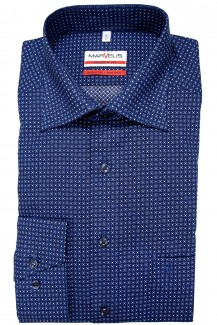 Marvelis Hemd 69er-Arm modern fit New Kent Ringe blau