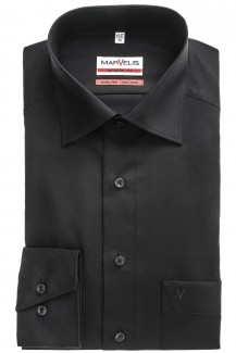 Marvelis modern fit Hemd 69er-Arm New Kent schwarz