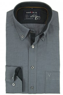 Marvelis Hemd Casual modern fit Button-Down gemustert anthrazit